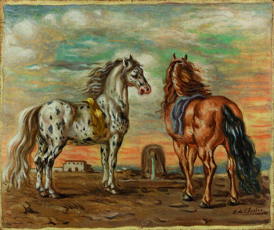 De Chirico, Cavalli sull'Ellesponto, 1936 ca., olio su tela, cm 38,5x45,5
