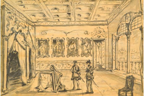 De Chirico, Scena per l'Otello di Rossini, 1954, carboncino acquarellato su cartoncino, cm 25,4x36,5