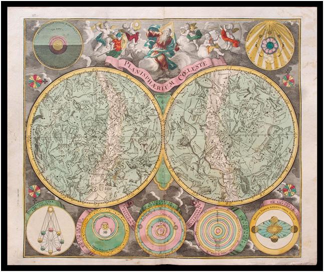TITOLO: Planisphaerium Coeleste EPOCA: 1730 MISURE: 58,2 x 50 l'incisione; 63,8 x 53,5 il foglio stampa antica con il planisfero celeste inserito da Matthaeus Seutter nel suo Atlas novus. Il Seutter è stato uno degli editori di cartografia più di successo nel settecento e nell'area tedesca in particolare, grazie alle sue carte molto colorate e ricche di simbolismi, come dimostra anche questo esemplare di planisfero celeste.