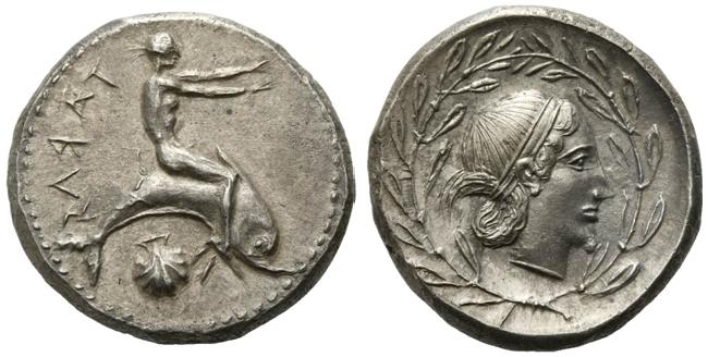 Nomos argenteo di Taranto, ca. 470-450 a.C. BFA Asta 52, Londra, lotto 9; Realizzo 36.000 sterline + diritti